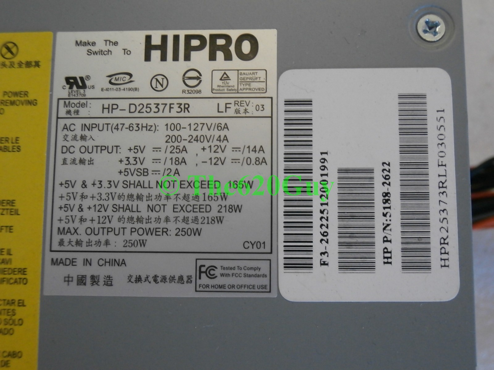 HP Compaq 250W ATX 20 Pin 4 Pin Power Supply 5188 2622 HIPRO HP D2537F3R LF a600 360851427793 4 hp d2537f3r power supply schematic hipro hp d3057f3h review v2 0 hp-d2537f3r wiring diagram at soozxer.org
