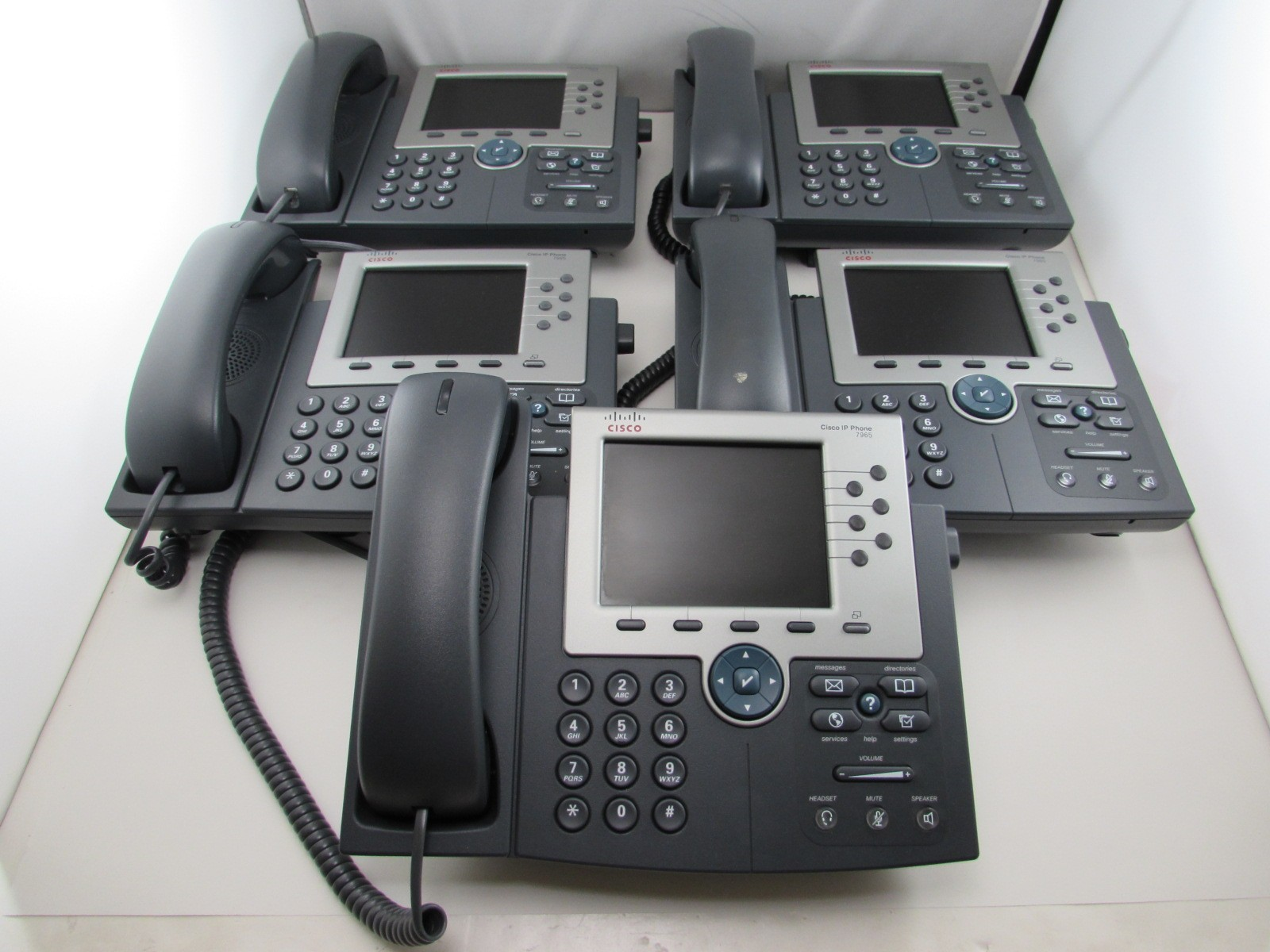lot of 5 Cisco CP-7965G 7950 Unified IP Phone SIP SCCP Telephone + Coil  Handset