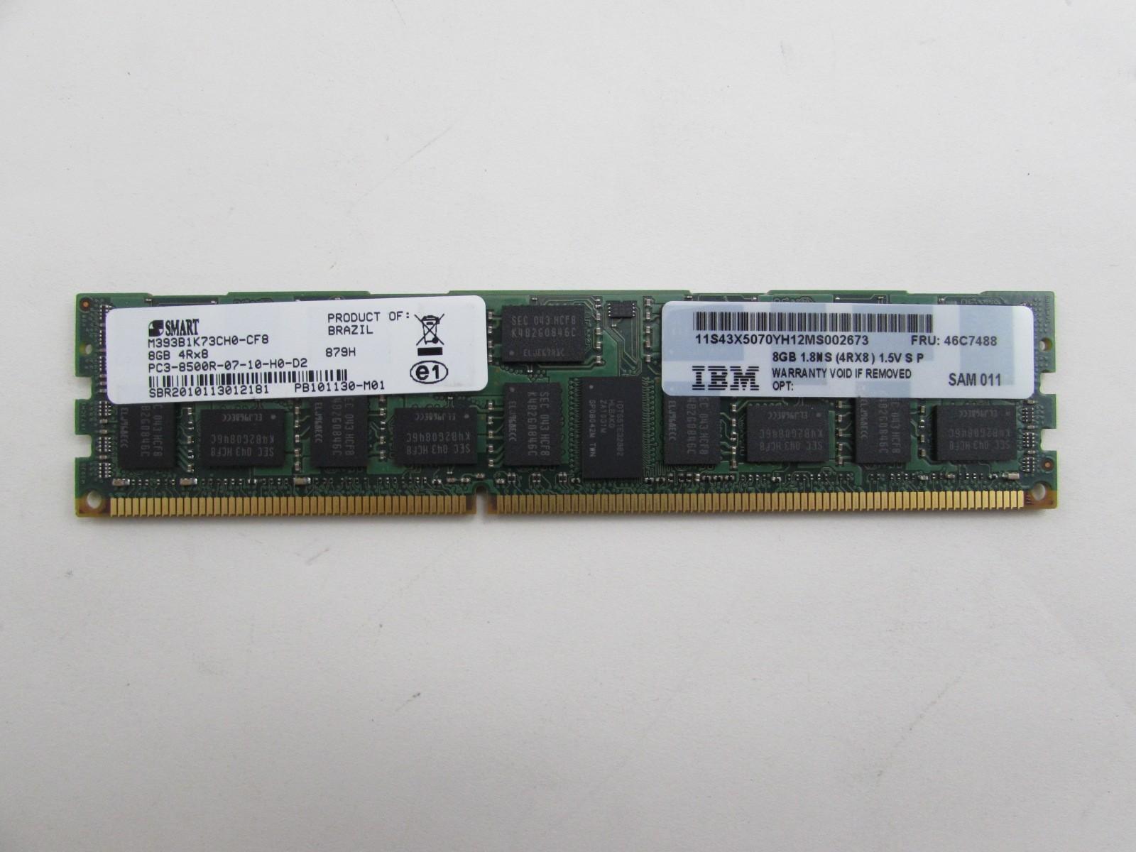 IBM Compatible 8GB PC3-8500 DDR3-1066 4Rx8 1.5v ECC Registered RDIMM IBM PN# 43X5070