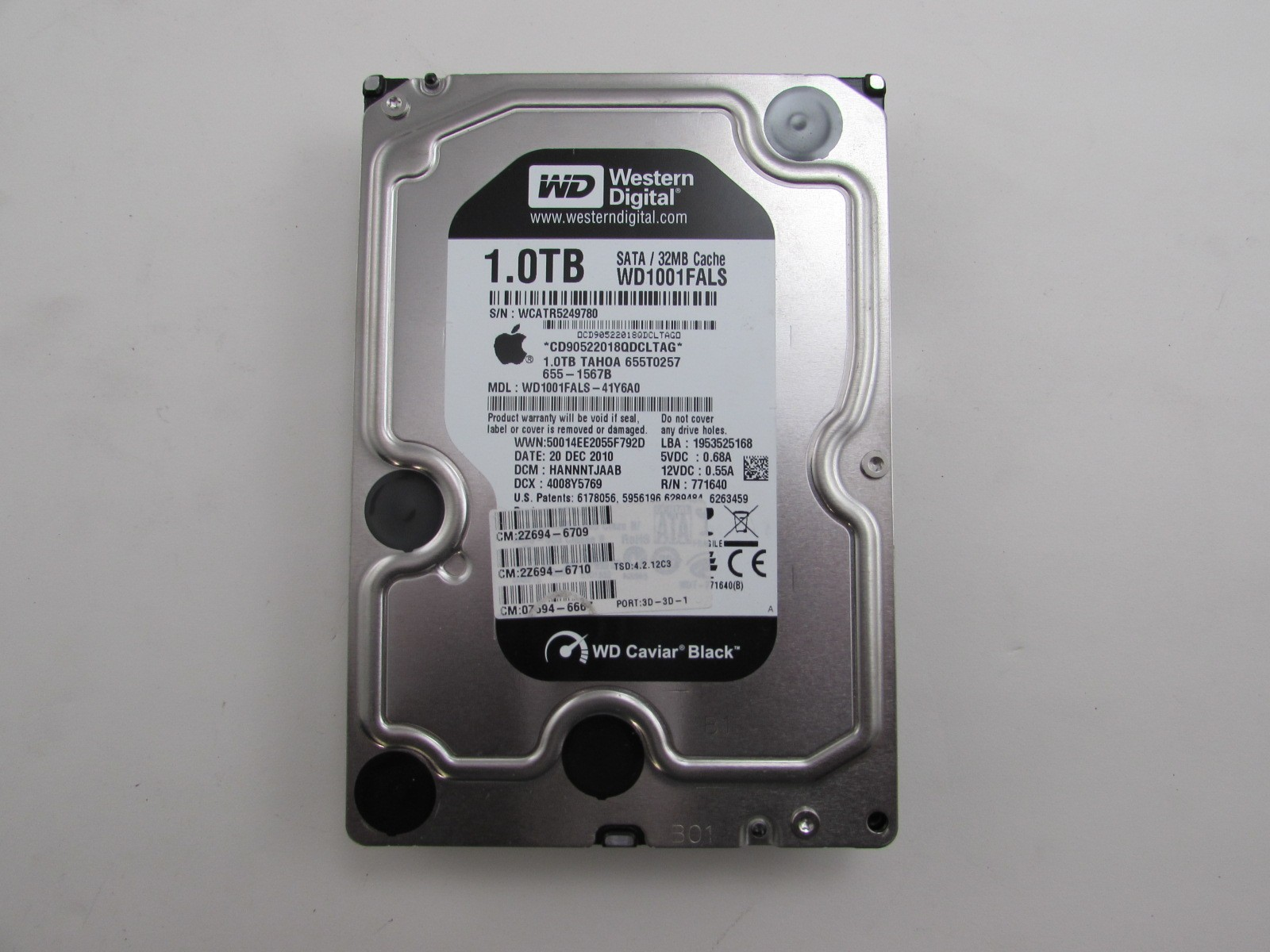 "Apple WD Caviar Black 3.5/"" 1TB SATA 3 HDD 32MB Cache 655-1567A WD1001FALS"